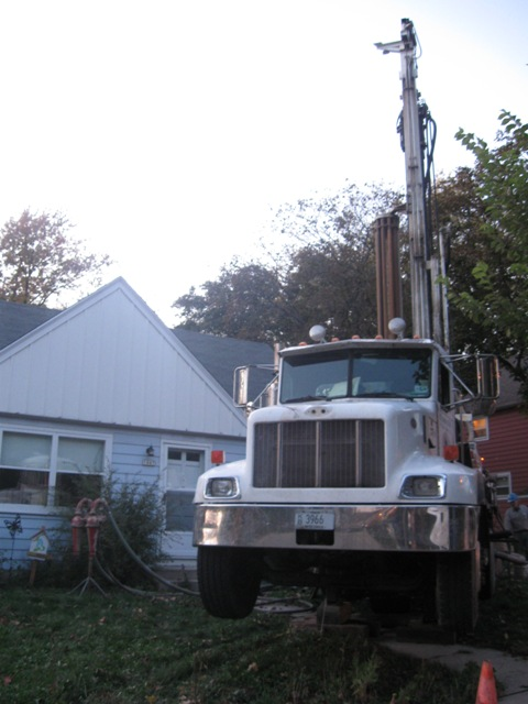 Drilling Truck on the Front Yard
